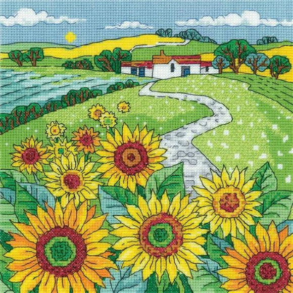 Sunflower Landscape Cross Stitch Kit, Heritage Crafts -Karen Carter
