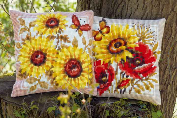 Sunflowers and Poppies CROSS Stitch Tapestry Kits, Vervaco -PAIR