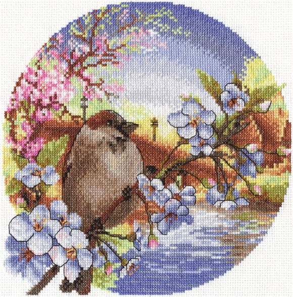 Sunrise Sparrow Cross Stitch Kit, Panna PT-0164