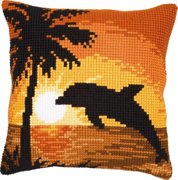 Sunset Dolphin CROSS Stitch Tapestry Kit, Vervaco pn-0008661