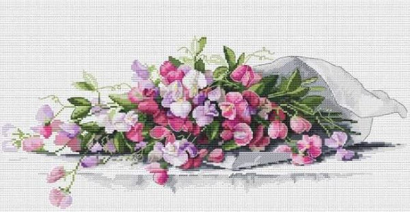 Sweet Peas Cross Stitch Kit, Merejka K-082