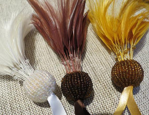 Trimming Tassels, Luxury Beaded Feather Tassels, Premium Feather Tassel (3 colours)