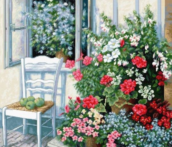 Terrace with Flowers Cross Stitch Kit Luca-s BU4017