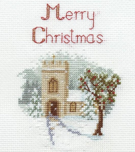 The Church Cross Stitch Christmas Card Kit, Derwentwater Designs