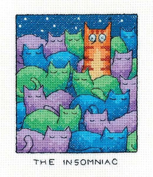 The Insomniac Cross Stitch Kit, Heritage Crafts -Peter Underhill