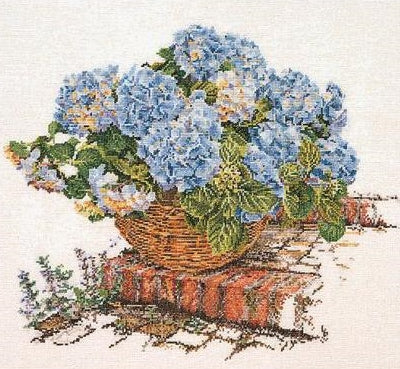 Cross Stitch Kit Blue Hydrangea, Counted Cross Stitch, Thea Gouverneur