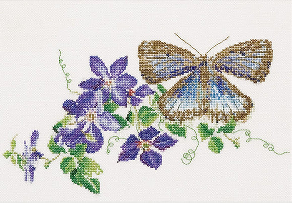 Common Blue Butterfly, Counted Cross Stitch Kit Thea Gouverneur