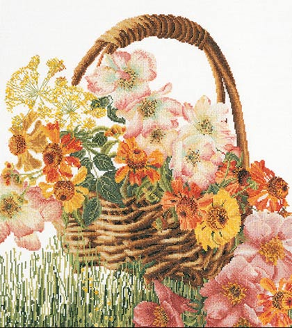 Cross Stitch Kit Flower Basket, Counted Cross Stitch Kit Thea Gouverneur