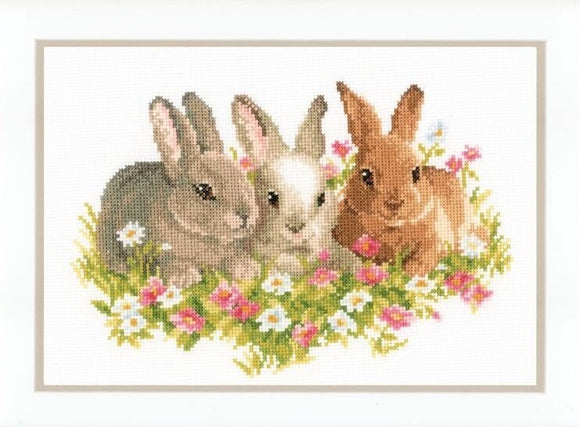 Three Bunny Rabbits Cross Stitch Kit, Vervaco pn-0143866