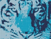 Tiger Stare Cross Stitch Kit - Ice Tiger Cross Stitch FS