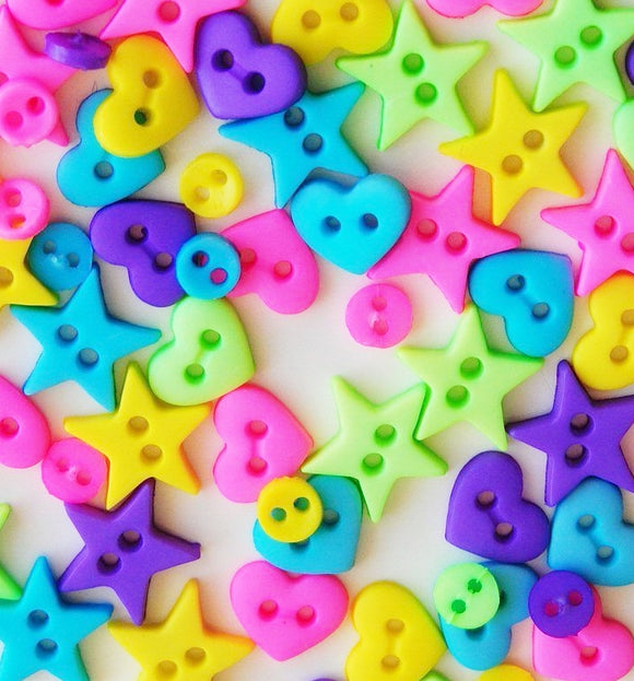 Tiny Buttons Embellishments - Micro Neon Shapes 5mm Button Pack