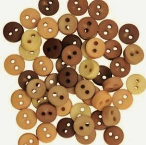 Tiny Buttons Embellishments - Round Natural 6mm Button Pack