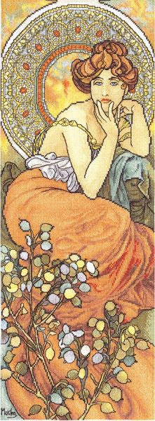 Topaz by Mucha Cross Stitch Kit, Panna VH-0522