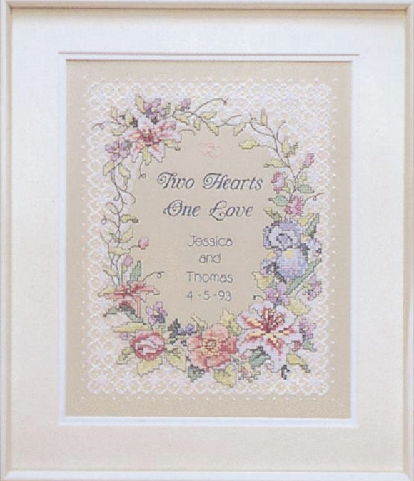 Two Hearts Wedding Sampler PRINTED Cross Stitch Kit D03122