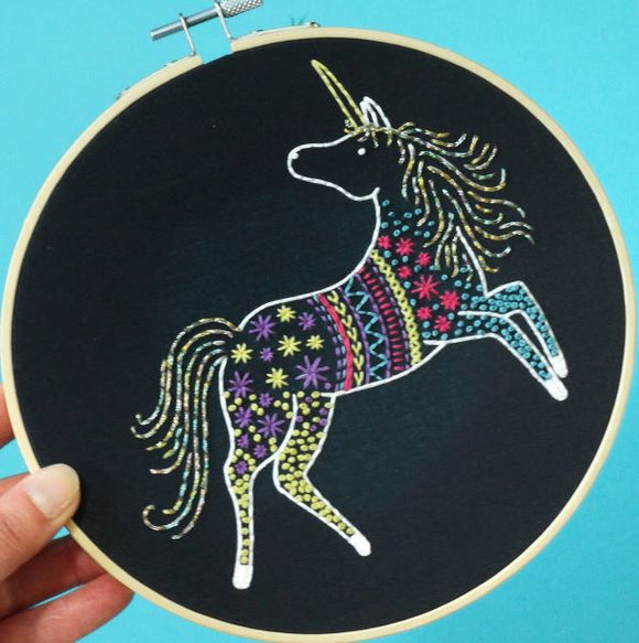Unicorn Embroidery Kit with Hoop, Hawthorn Handmade (Black)