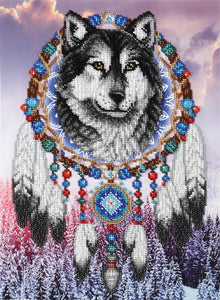 Bead Embroidery Kit Dream Catcher Wolf Bead Work Embroidery Kit VDV