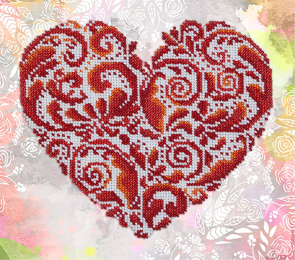 Bead Embroidery Kit Lace Heart Bead Work Embroidery Kit VDV