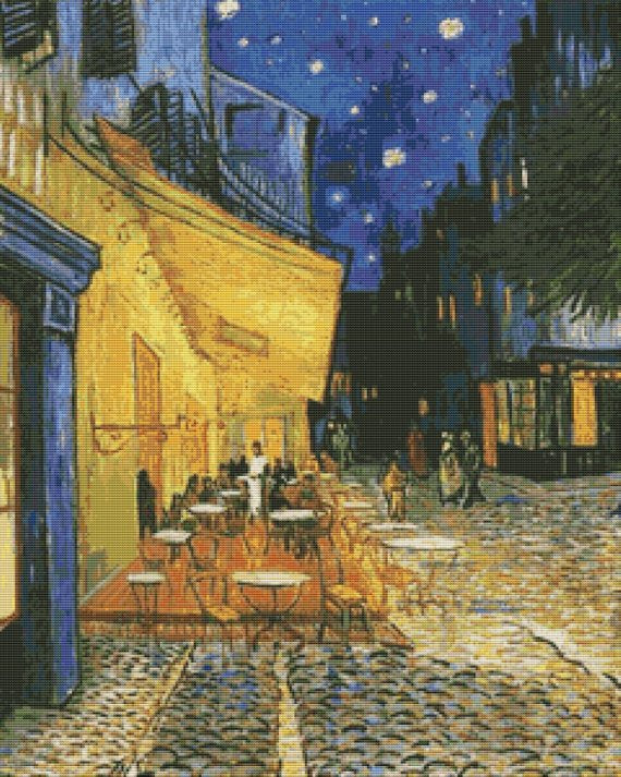Cafe Terrace Arles at Night, Van Gogh Cross Stitch Kit