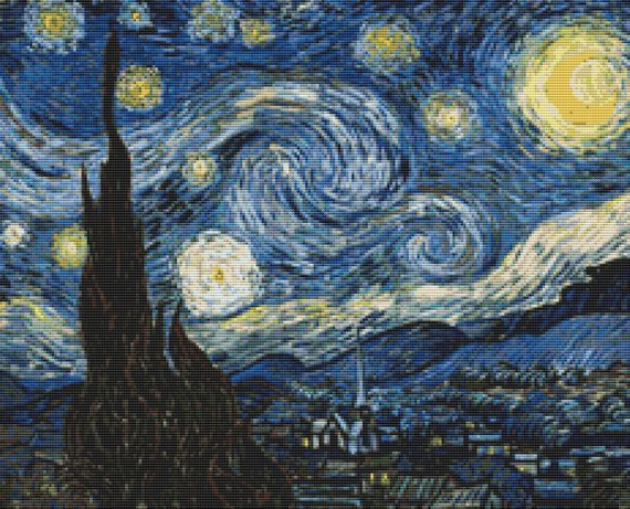 Cross Stitch Kit Starry Night, Van Gogh Fine Art Cross Stitch FS