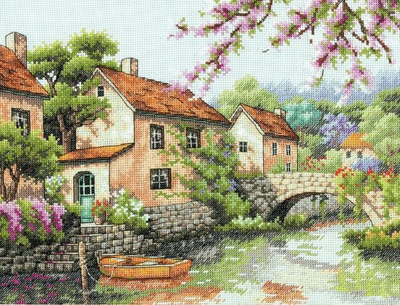 Village Canal Cross Stitch Kit, Dimensions D70-35330