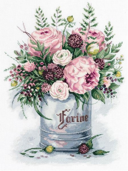 Watercolour Bouquet Cross Stitch Kit, Panna C-7050