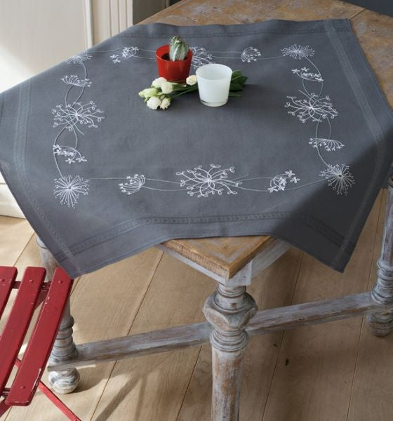White Flowers Tablecloth PRINTED Embroidery Kit, Vervaco PN-0164728