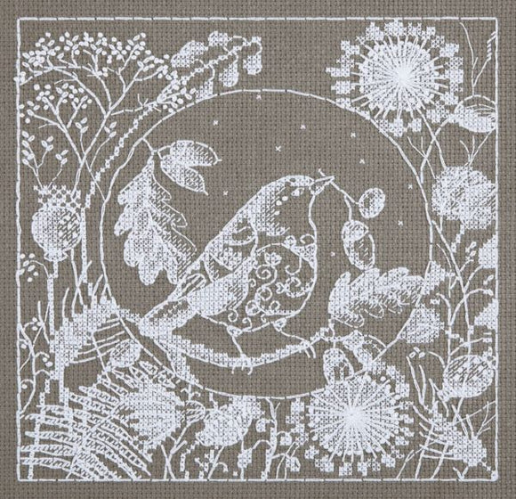 White Lace Bird Cross Stitch Kit, Panna PT-1865