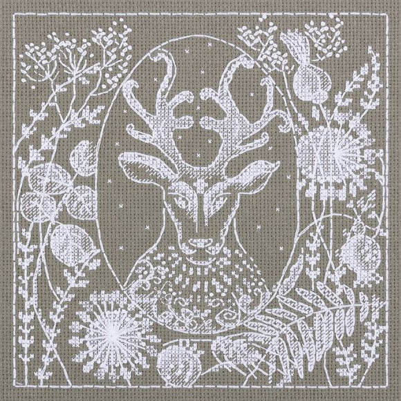 White Lace Stag Cross Stitch Kit, Panna J-1944
