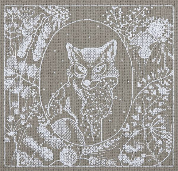 White Lace Fox Cross Stitch Kit, Panna J-1950