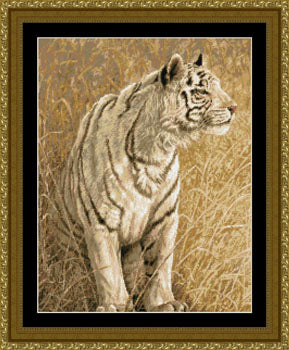 White Light Tiger Cross Stitch Kit, Kustom Krafts