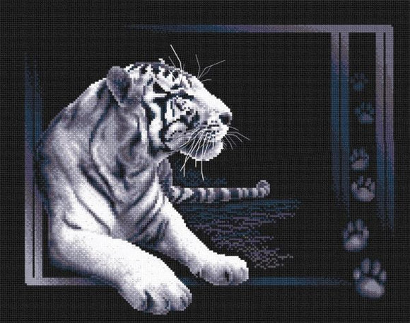 White Tiger Cross Stitch Kit, Panna J-0277