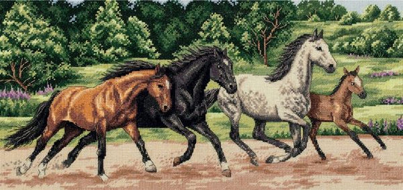Wild Horses Cross Stitch Kit, Panna J-7073