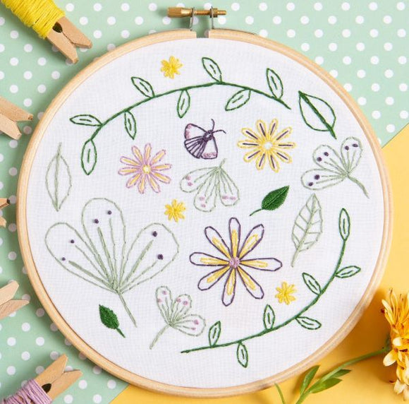 Flower Meadow Embroidery Kit with Hoop, Hawthorn Handmade