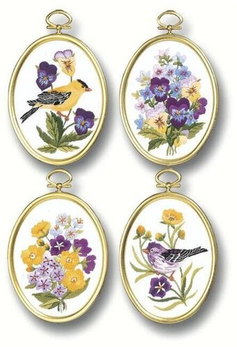 Embroidery Kit Wildflowers and Finches Embroidery Set of 4, 004-0715