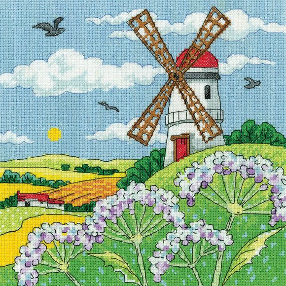 Windmill Landscape Cross Stitch Kit, Heritage Crafts -Karen Carter