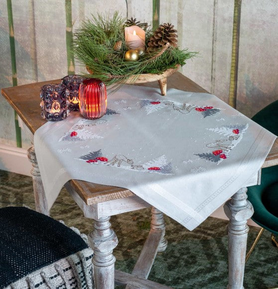 Winter Christmas Landscape Tablecloth PRINTED Cross Stitch Kit, Embroidery Vervaco PN-PN-0179166