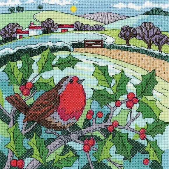 Winter Landscape Cross Stitch Kit, Heritage Crafts -Karen Carter