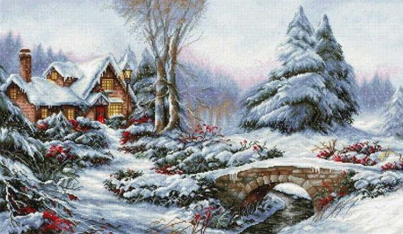 Winter Landscape Cross Stitch Kit, Luca-s BU5002