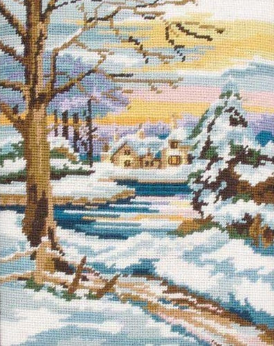 Winter Scene Landscape Tapestry Kit Needlepoint, Anchor MR844