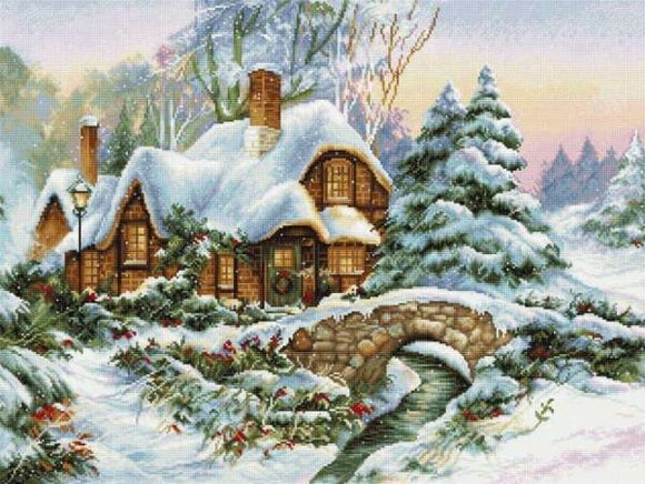 Winter Scene Cross Stitch Kit, Luca-s BU5001