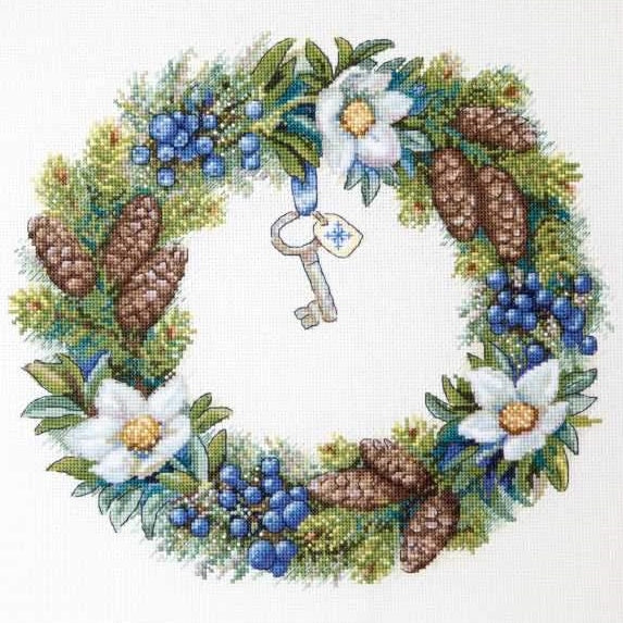 Winter Wreath Cross Stitch Kit, Merejka K-104