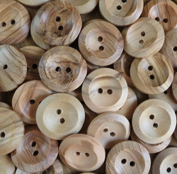 Natural Wood Buttons, Wooden Button - 4036/25mm