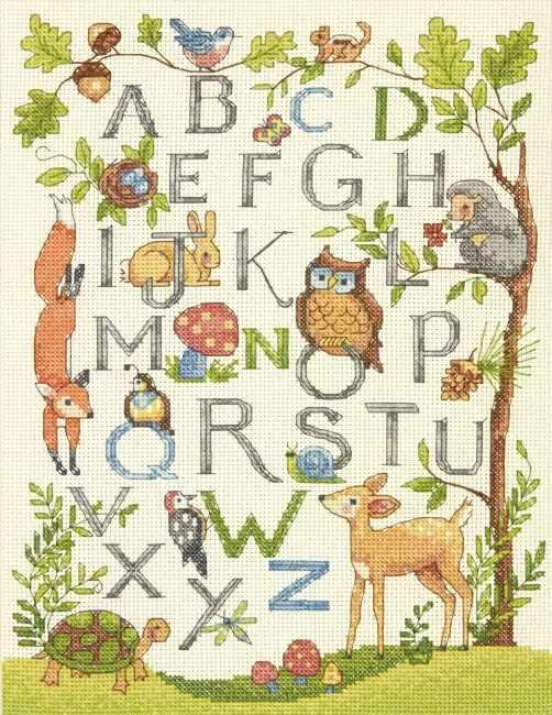 Woodland Alphabet Sampler Cross Stitch Kit, Dimensions D70-35343