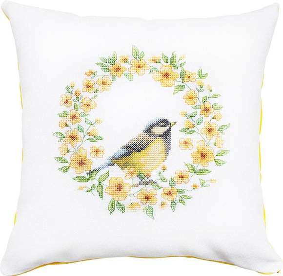 Yellow Wreath Cross Stitch Kit, Blue Tit Cushion, Luca-s PB129