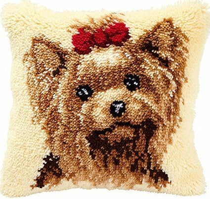 Yorkshire Terrier Latch Hook Kit Cushion, Vervaco pn-0014144