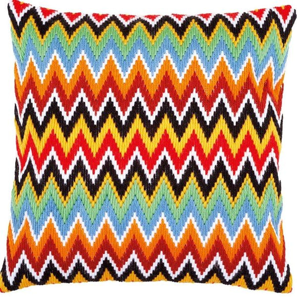 Zig Zag Lines Bargello Long Stitch Kit, Vervaco Cushion Front PN-0172881