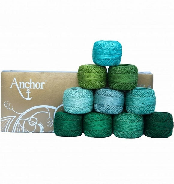 Anchor Pearl Cotton no. 8, Embroidery Thread Assortment - Greens, 10 x 20g balls
