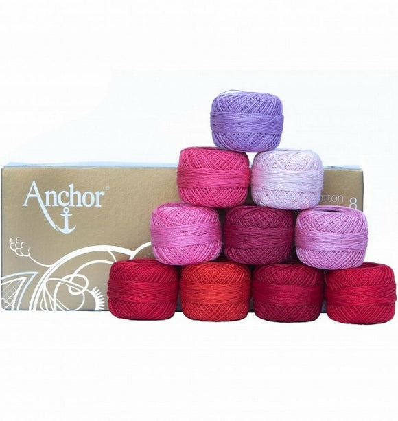 Anchor Pearl Cotton no. 8, Embroidery Thread Assortment - Pink Red, 10 x 20g balls
