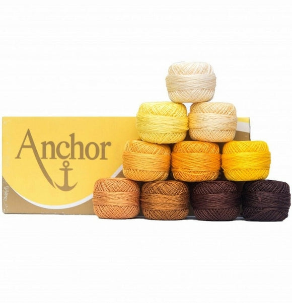 Anchor Pearl Cotton no. 8, Embroidery Thread Assortment - Yellow/Brown, 10 x 20g balls