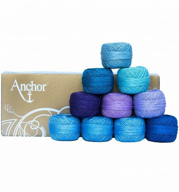 Anchor Pearl Cotton no. 8, Embroidery Thread Assortment - Blue Purple, 10 x 20g balls